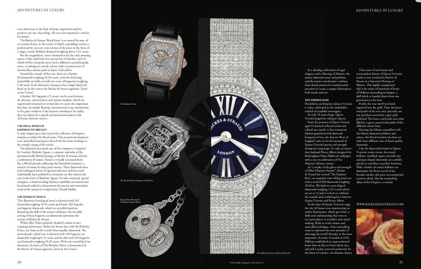 Backes & Strauss unique ladies and men diamond watch