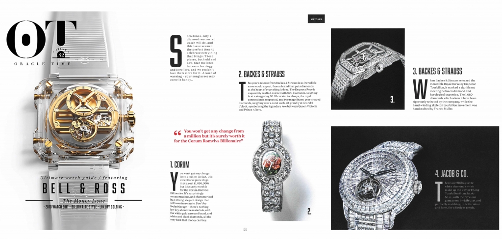 Backes & Strauss luxury watch brand featured in Oracle Time