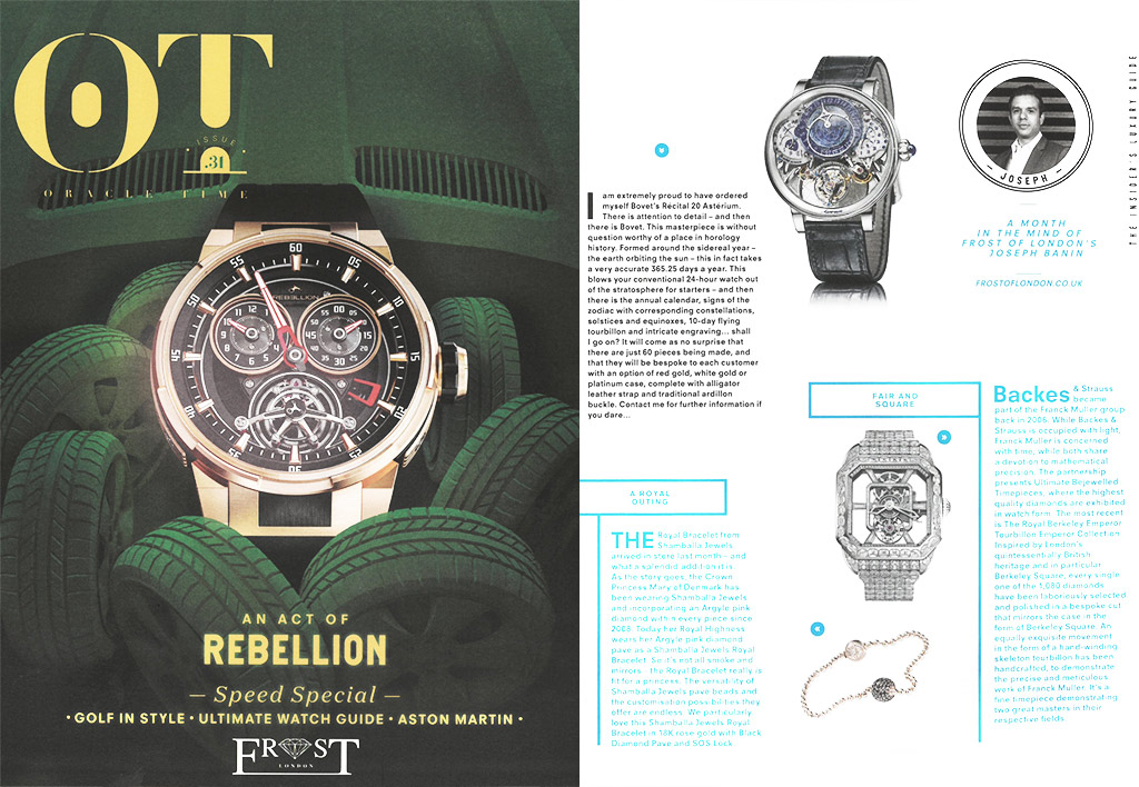 Backes & Strauss luxury watch brand featured in Oracle Times