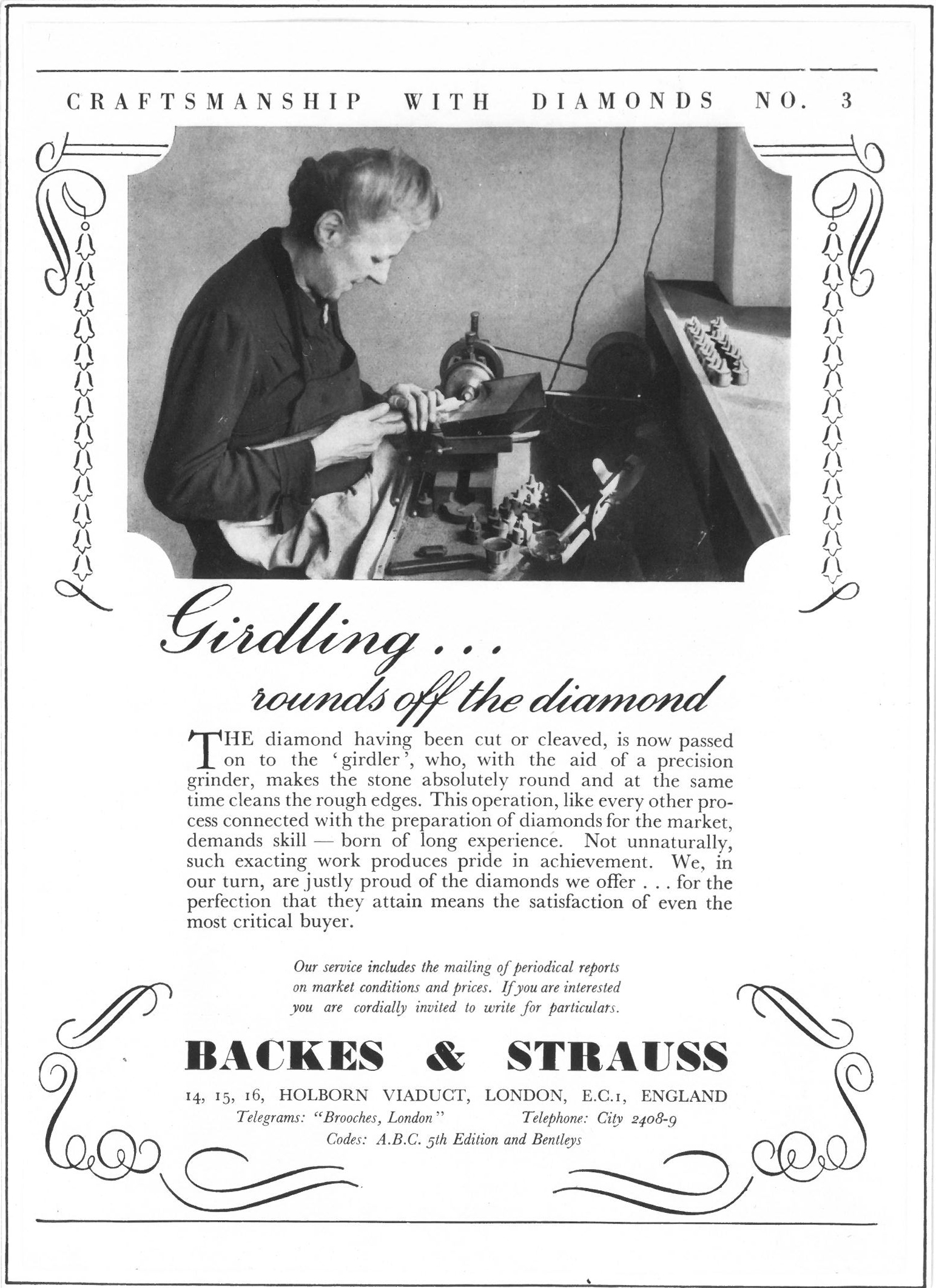 Backes & Strauss London diamond company Advertising