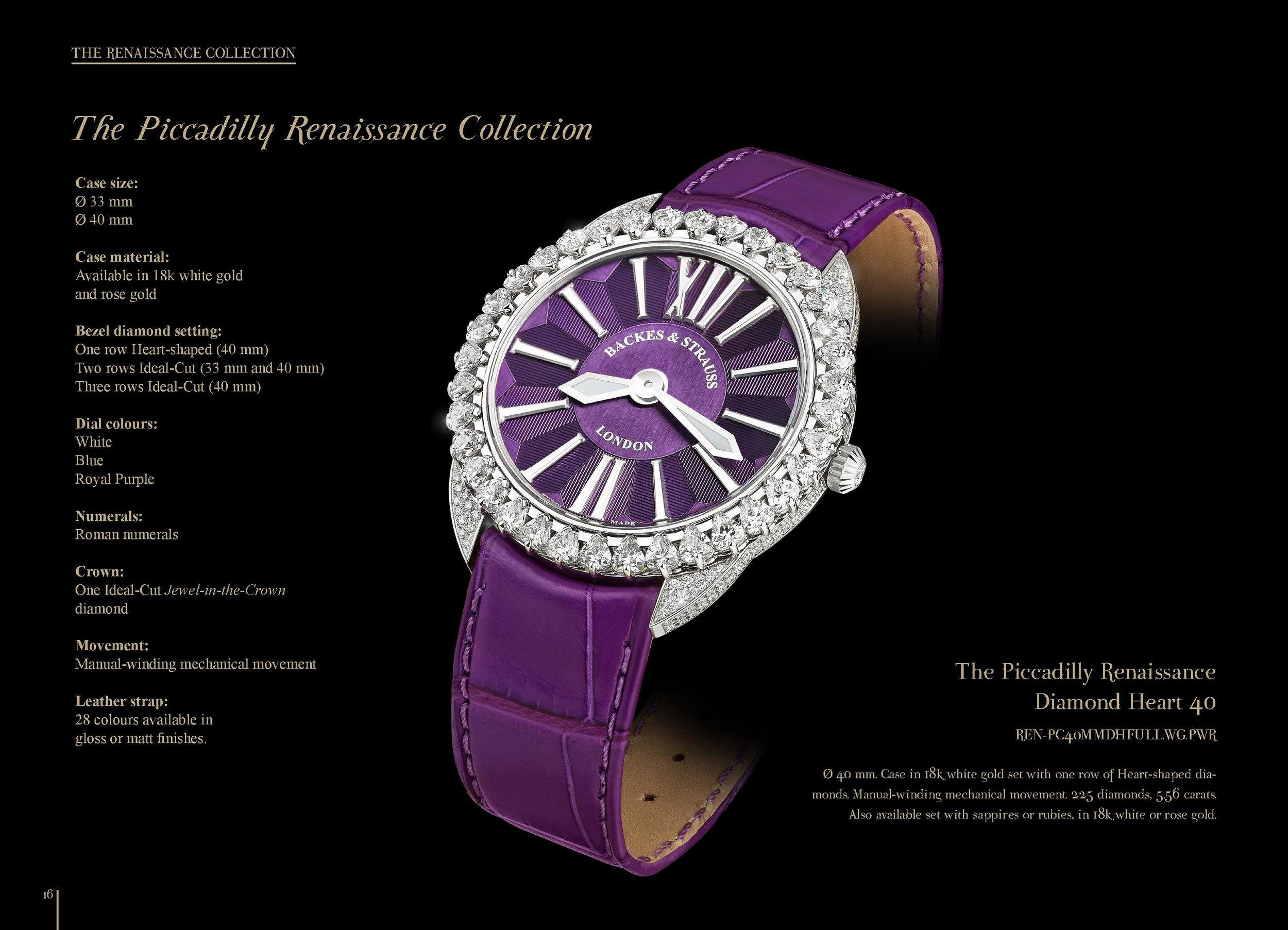 Piccadilly Renaissance Diamond Heart 40 watch