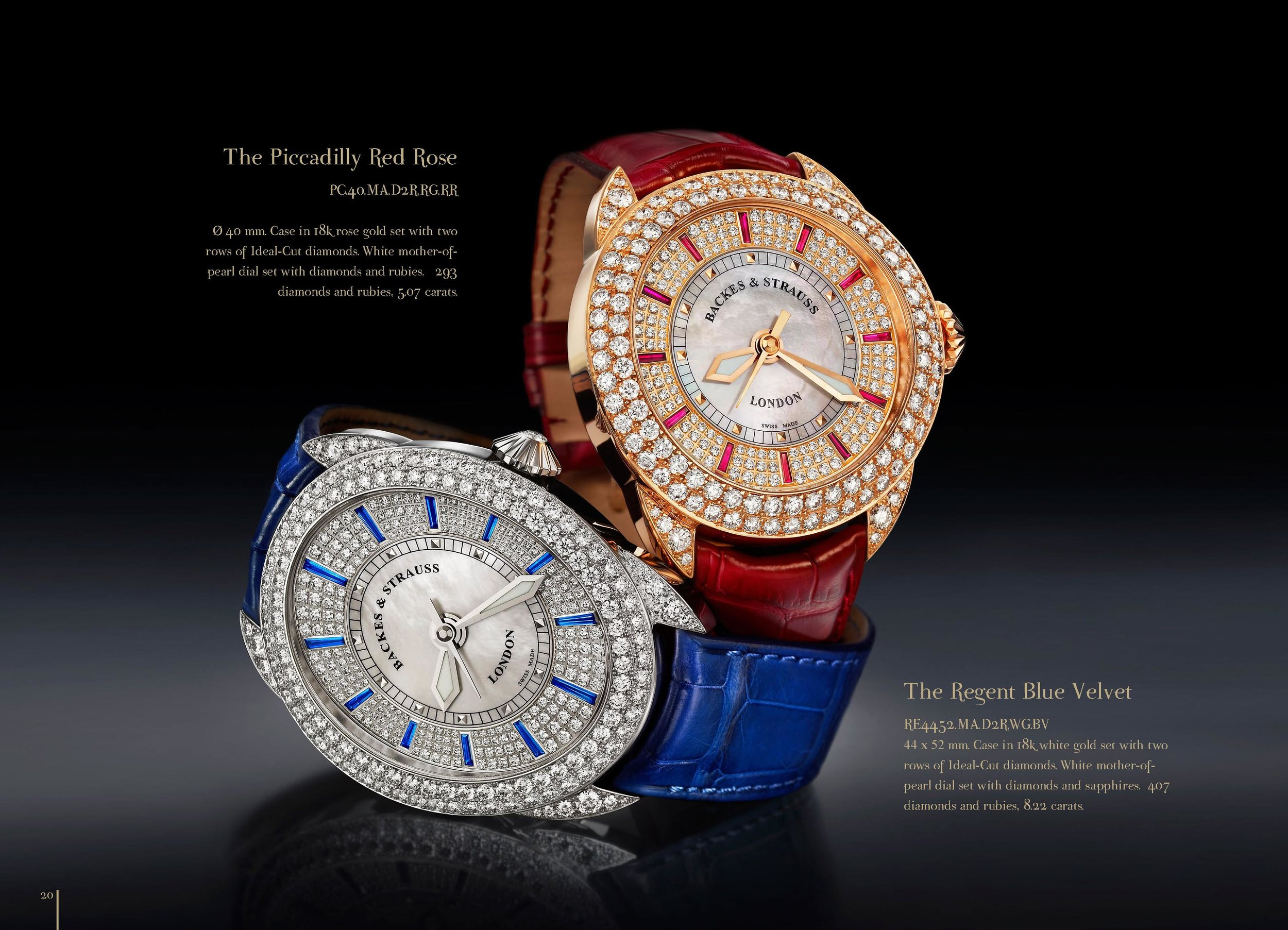 Piccadilly Red Rose & Regent Blue Velvet watch