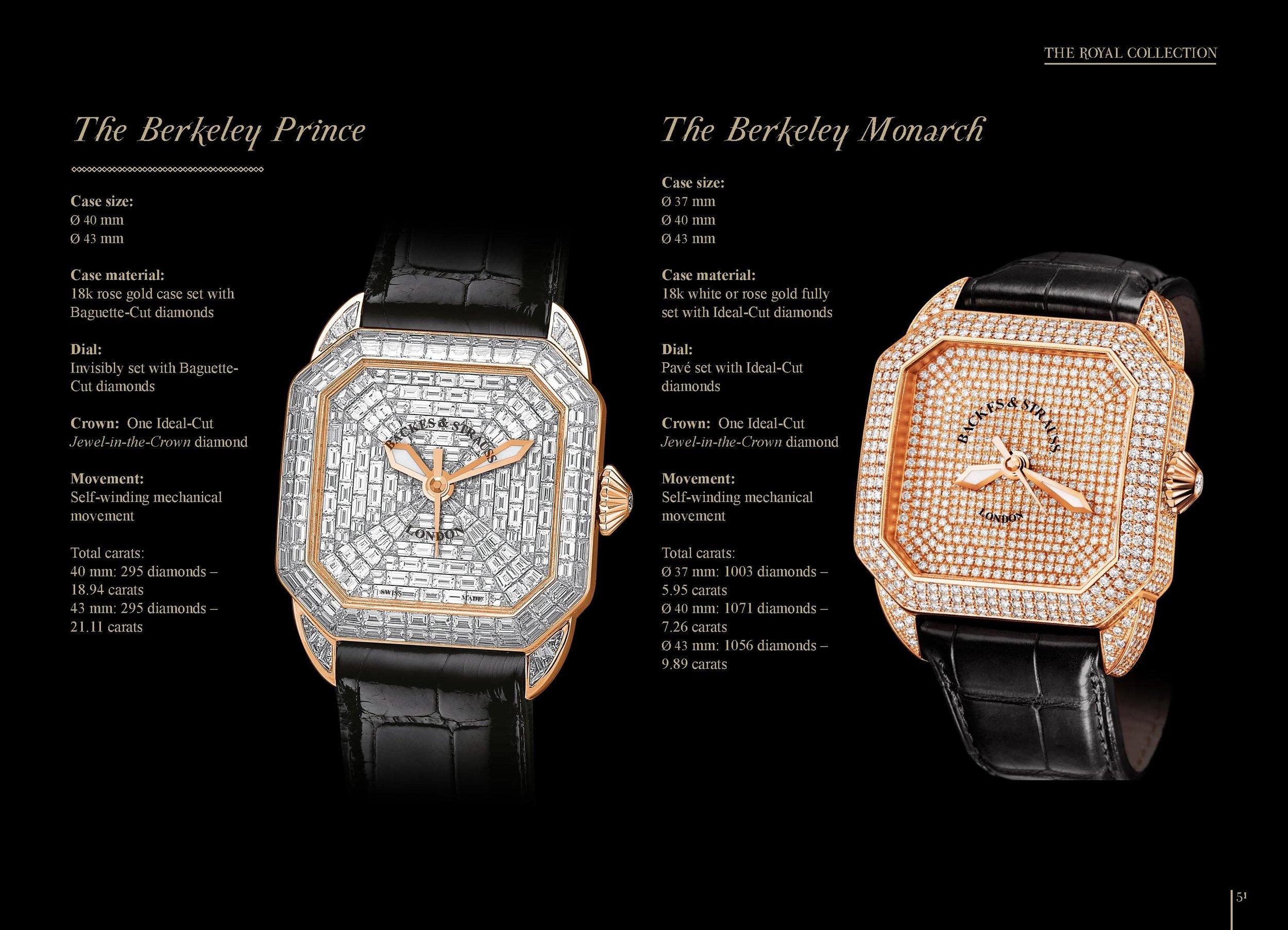 The Berkeley Monarch and Prince diamond watch