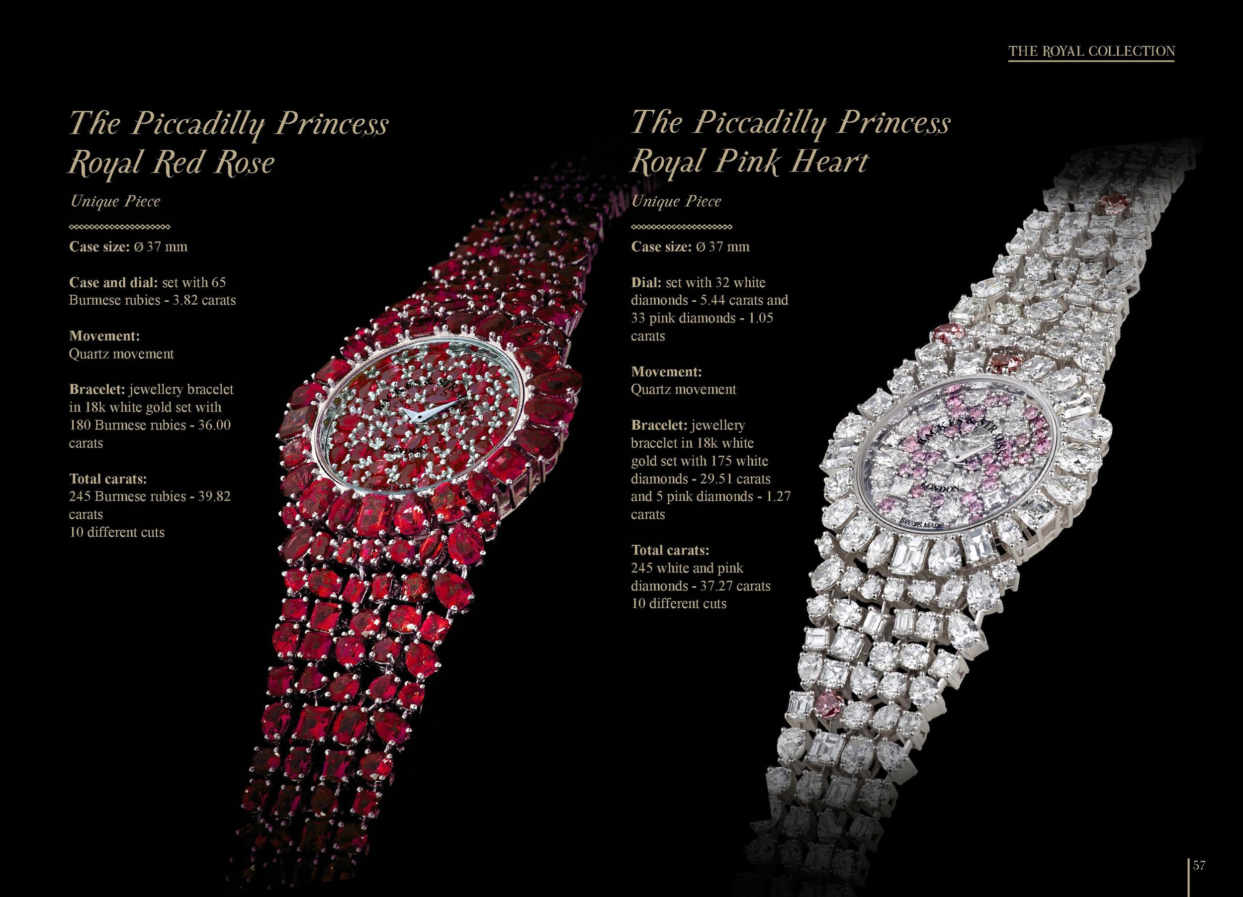The Piccadilly Princess Royal Red Rose and Pink Heart msaterpiece