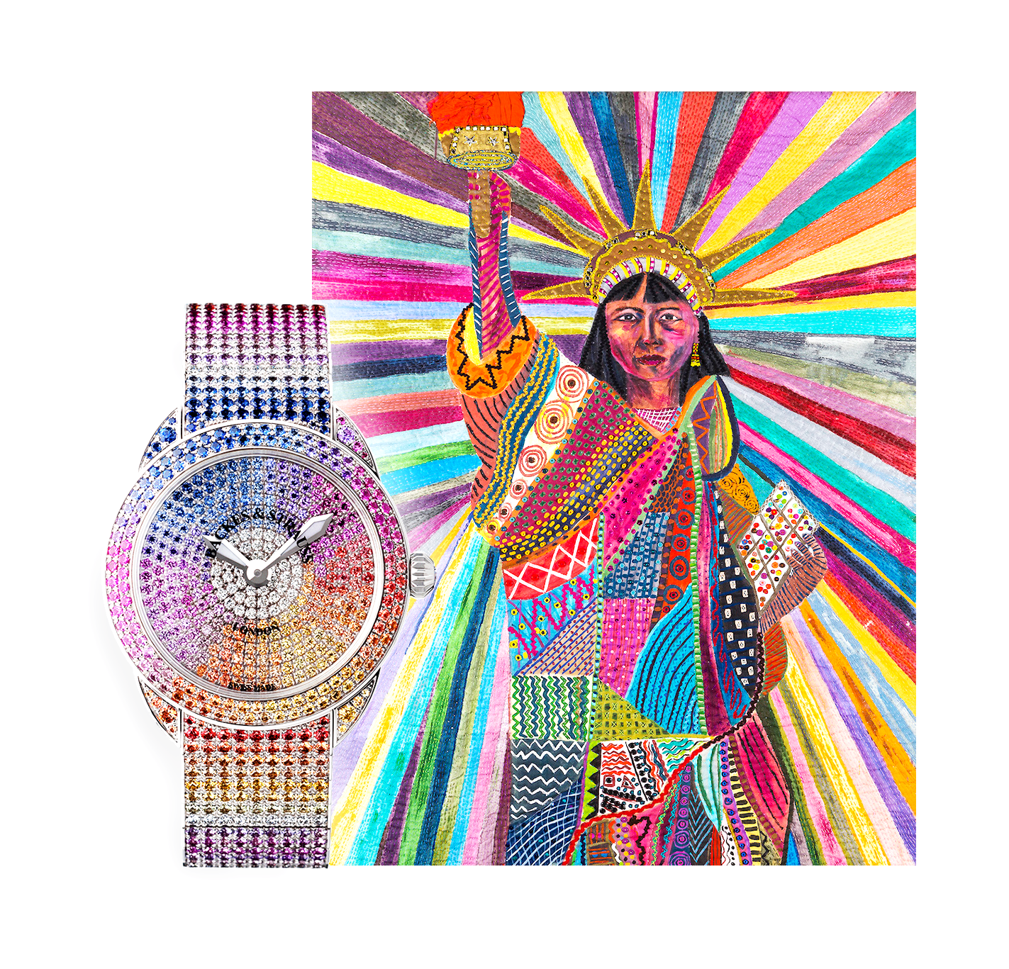 """Left: Our """"Piccadilly Renaissance Ballerina Rainbow"""". Right: Patricia Abad's """"L.A. Liberty""""."""