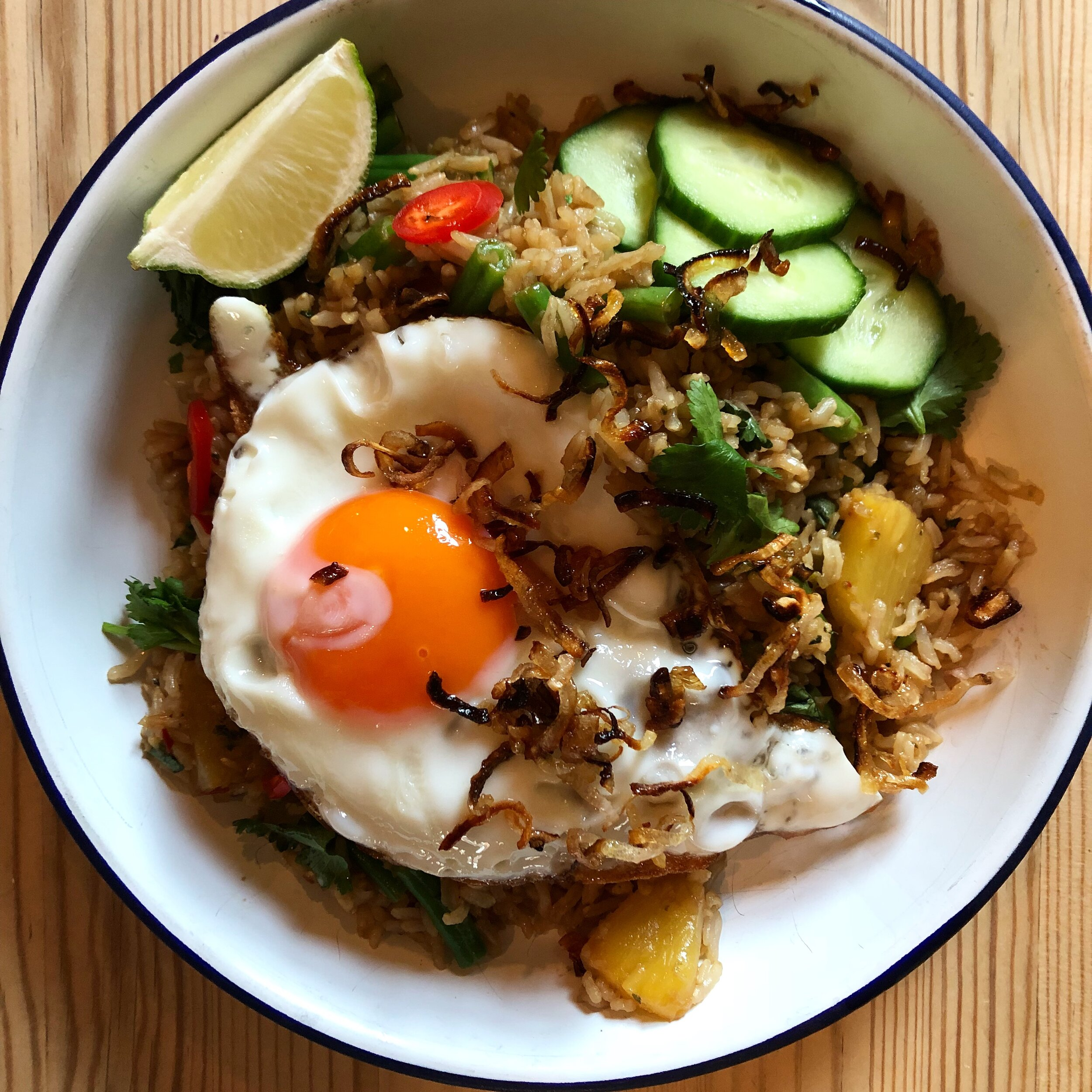 Indonesian Fried Rice with Charred Pineapple & A Crispy Fried Egg