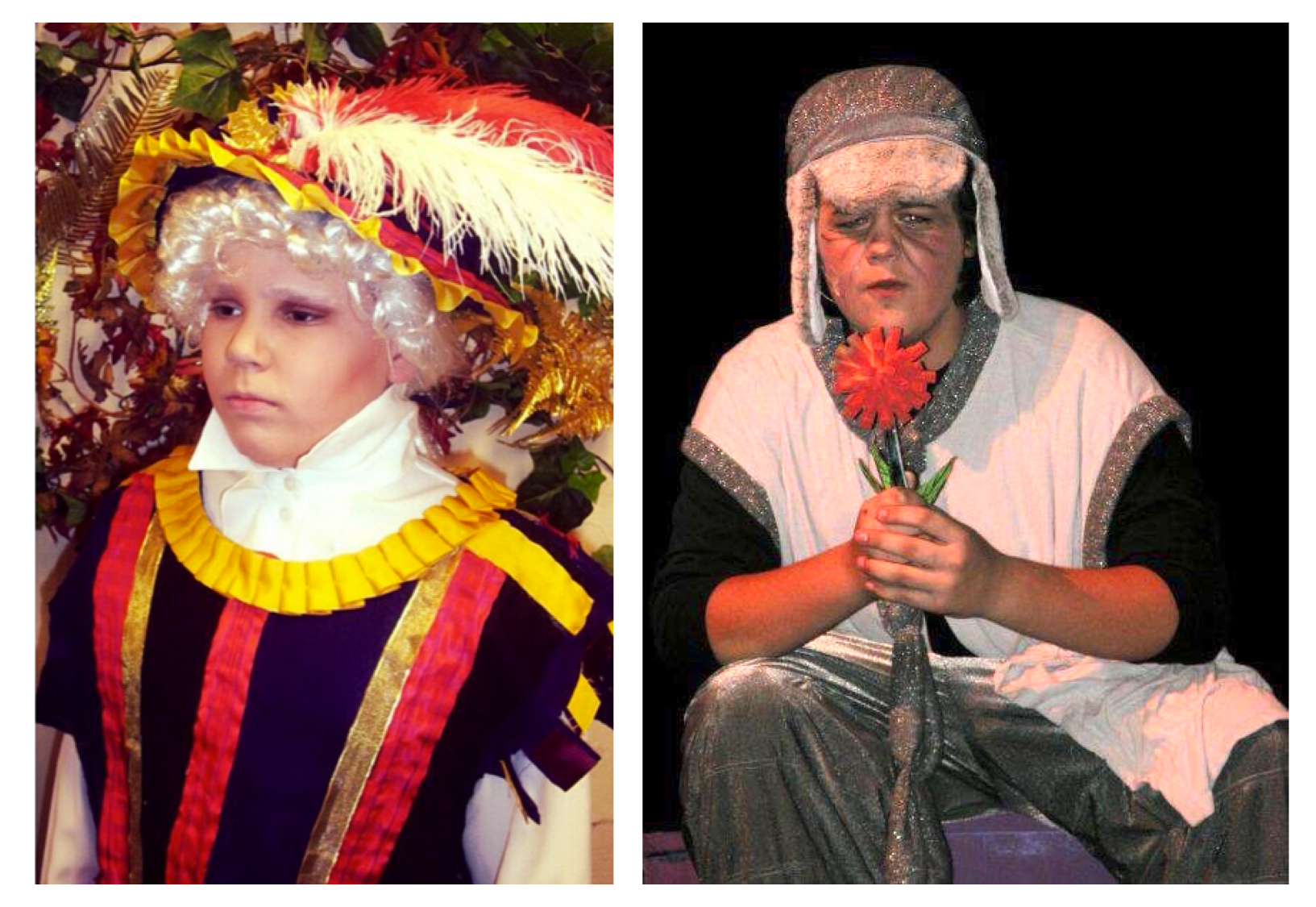 Baby Ben as the Steward in Into the Woods Jr. and baby Austin as Horton in Seussical Jr.