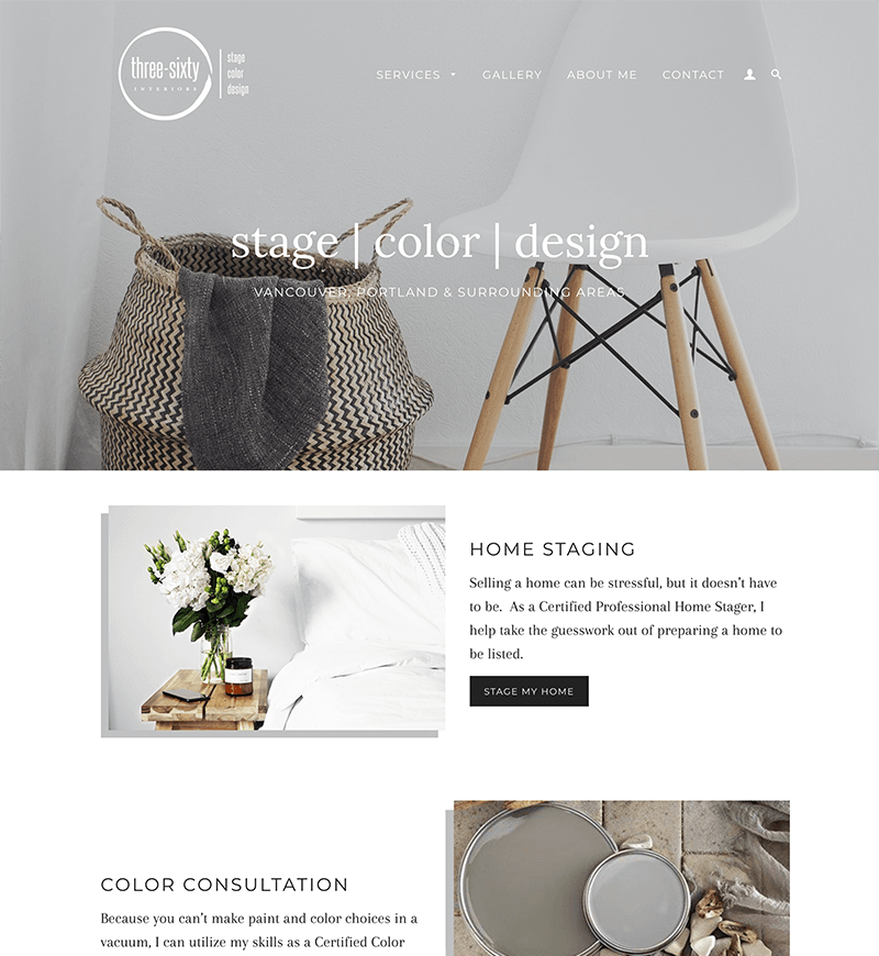 Three-Sixty Interiors Shopify Website Design   eWagner Consulting   Boise, Idaho