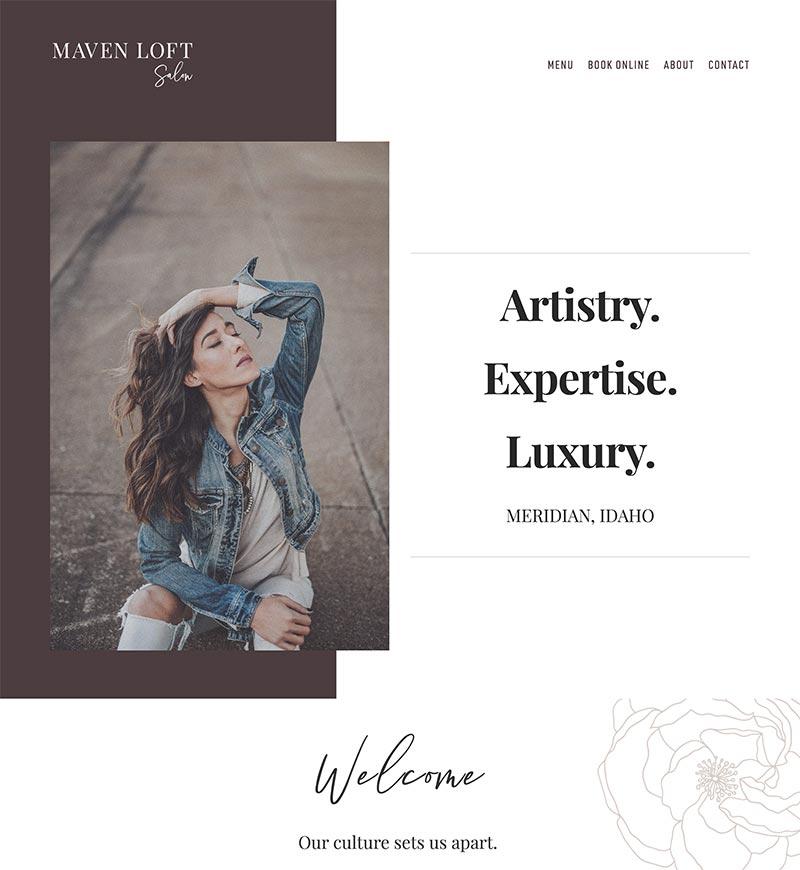 Maven Loft Salon Squarespace Website Design   eWagner Consulting   Boise, Idaho