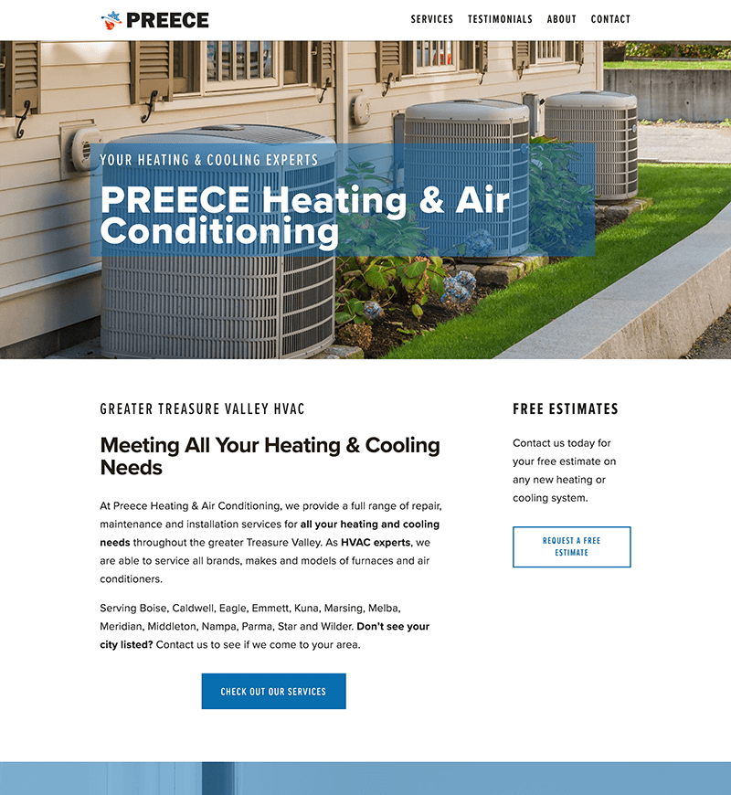 Preece Heating & Air Conditioning Squarespace Website Design   eWagner Consulting   Boise, Idaho