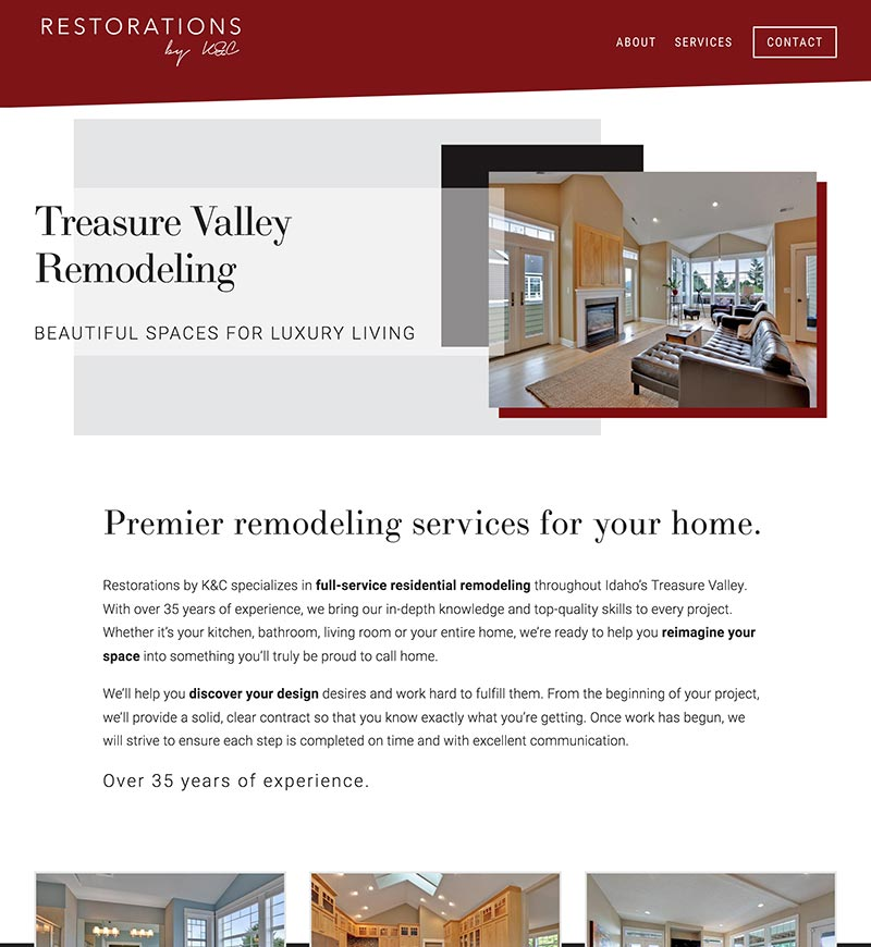 Restorations by K&C Squarespace Website Design   eWagner Consulting   Boise, Idaho
