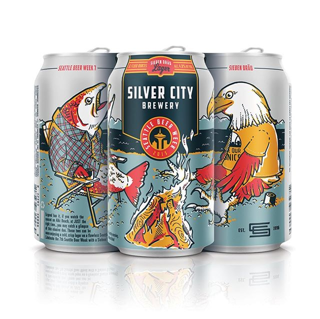 In celebration of #seattlebeerweek I wanted to share the cans I designed and illustrated for the 2015 @silvercitybrewery SBW cans. One of my favorites!  #wabeer #pnwbeer #seattlebeer #craftbeer #candesign #packagedesign #illustration #pnw #beerart
