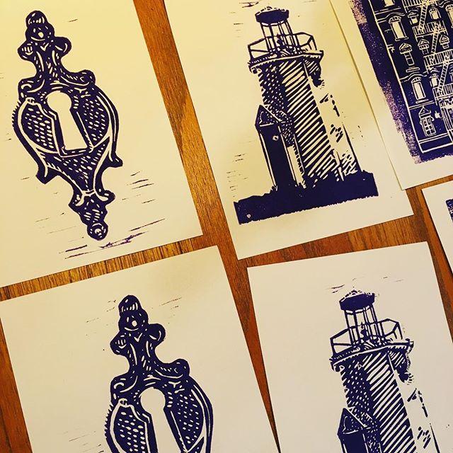 Test prints for @wetcoastbrewing labels! Next step: scan and clean. #beerporn #linocut #beerlabel #packagedesign #pnwbeer #craftbeer