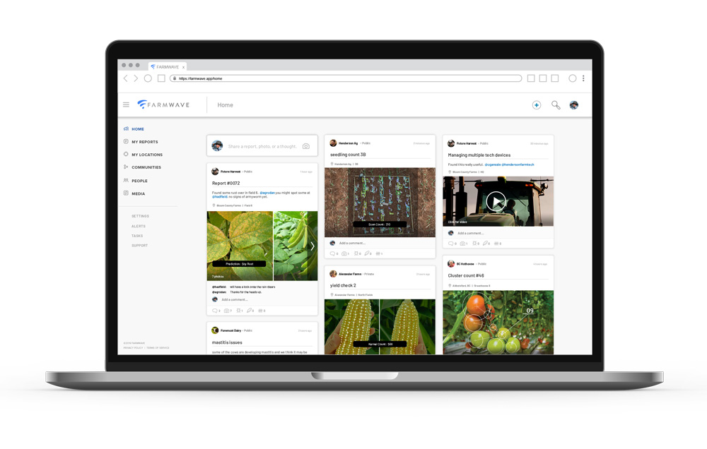 A laptop with an expanded view of Farmwave's progressive web app shows how field reports laid out, like a Pinterest board, for easy use.