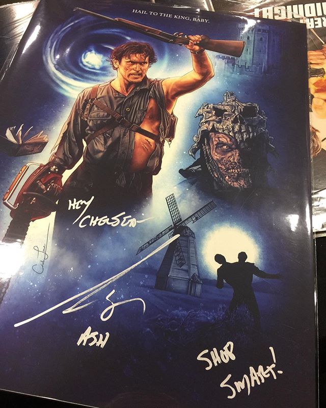 Bruce, as he's signing my art: Shop smart! Me: Shop S-Mart! Bruce: That's right! . 😂 It was so sooo amazing to finally meet Bruce Campbell and having him sign my Army of Darkness piece. The lines for him were insane so I was mega worried I wouldn't get in. A BIG thank you to my dad @jakestonecomic for holding my place in line. ❤️ . I will be seeing Bruce again at SPOOKY EMPIRE later this year. I'm already trying to get some very cool things planned for that so hopefully everything will work out! . #brucecampbell #fanboyexpo #ashwilliams #evildead #theevildead #armyofdarkness #horror #horrorfan #horrormovies #art #artist #artwork #illustration #posterart #posterartist