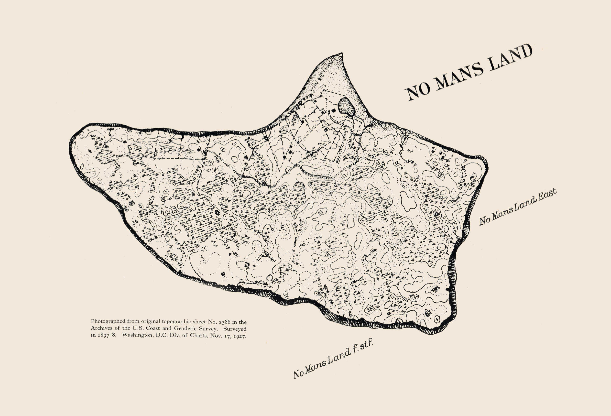 Topographic map of Nomans from the 1897-1898 USGS survey.