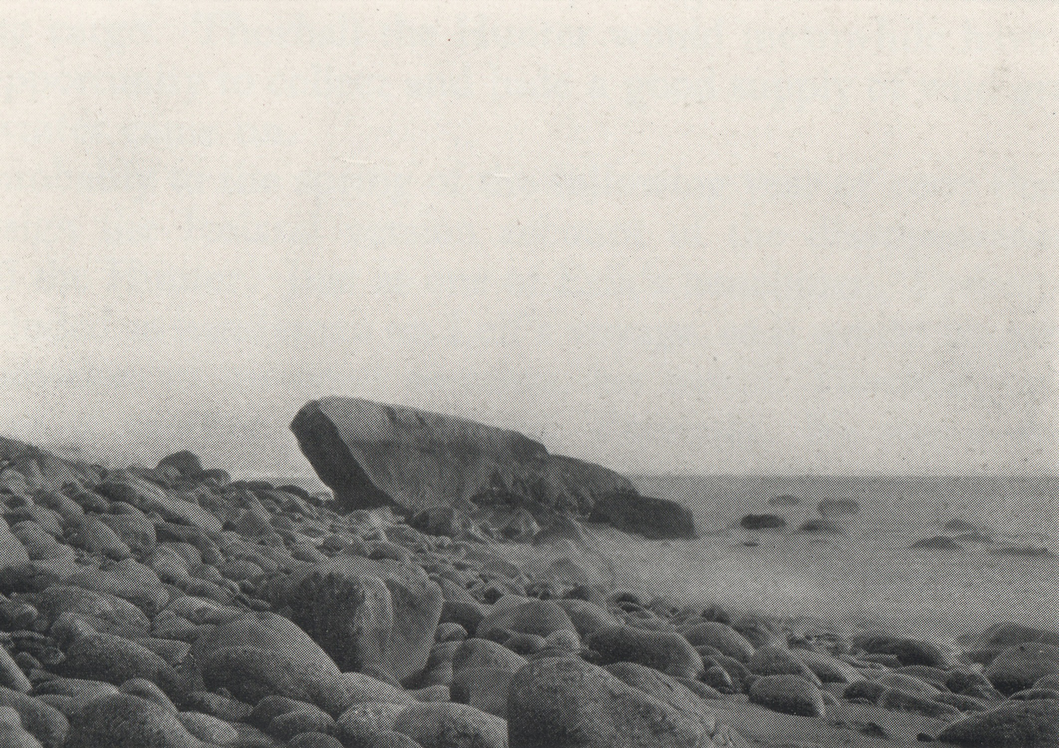 The Norse rock is located off the front right-hand side of the large rock. Photo: E.F. Gray