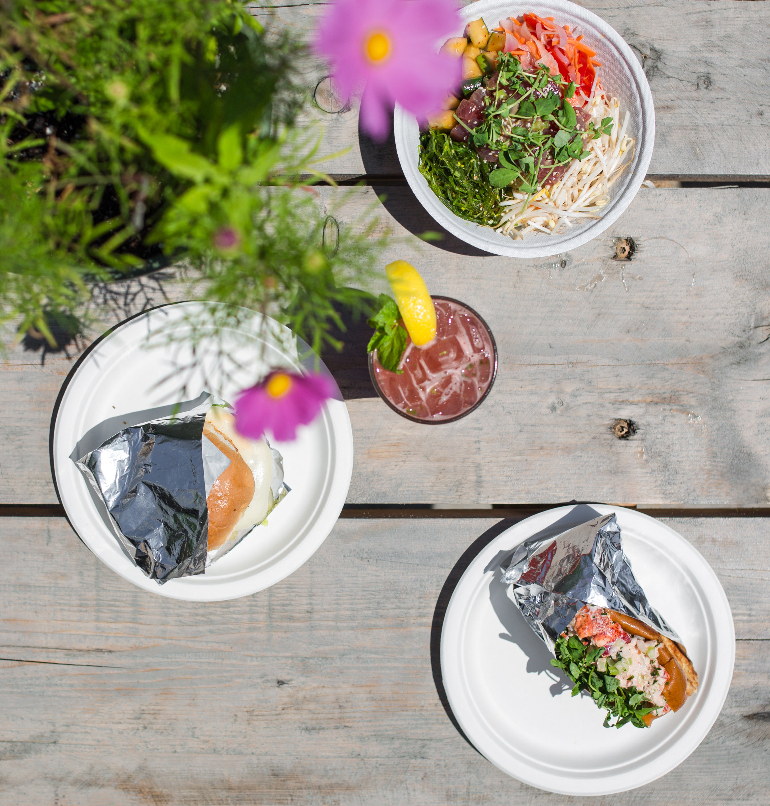 Roadside Burger, Lobster Roll and Poke Bowl paired with one of our signature rum based cocktails…THE VIBE