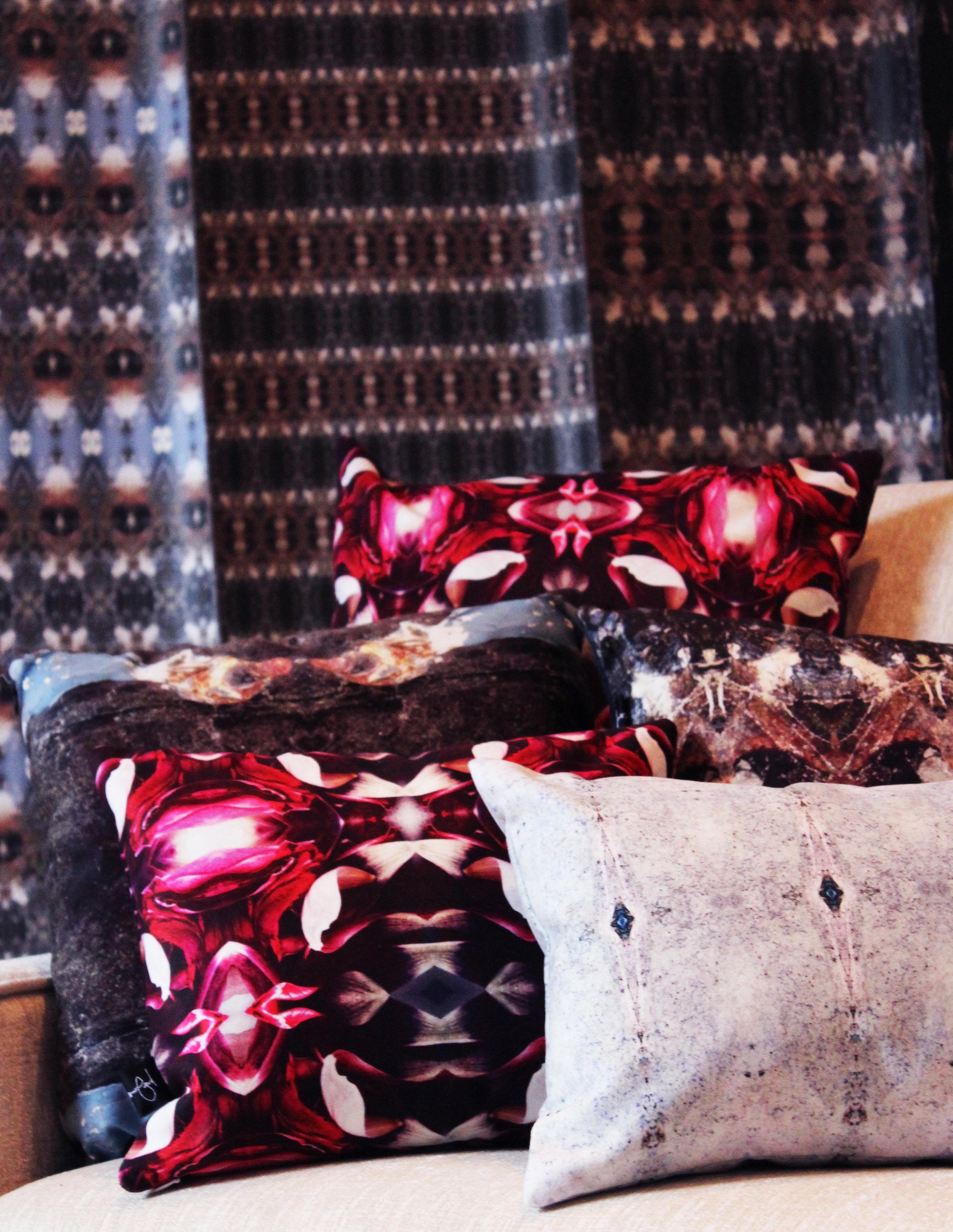 Keyhole & Craquelure Wallpaper, Cuvee+Craq+Spring Frost Cushion.jpg