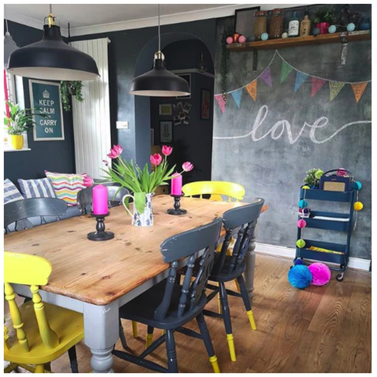 colorful-kitchen-chalkboard-wall-idea-farm-house-kitchen-1930s-home-vintage-home-flawsomehome.jpg