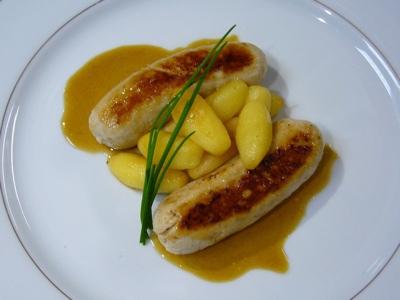 Boudin Blanc, Glazed Apples & Cider Calvados Jus