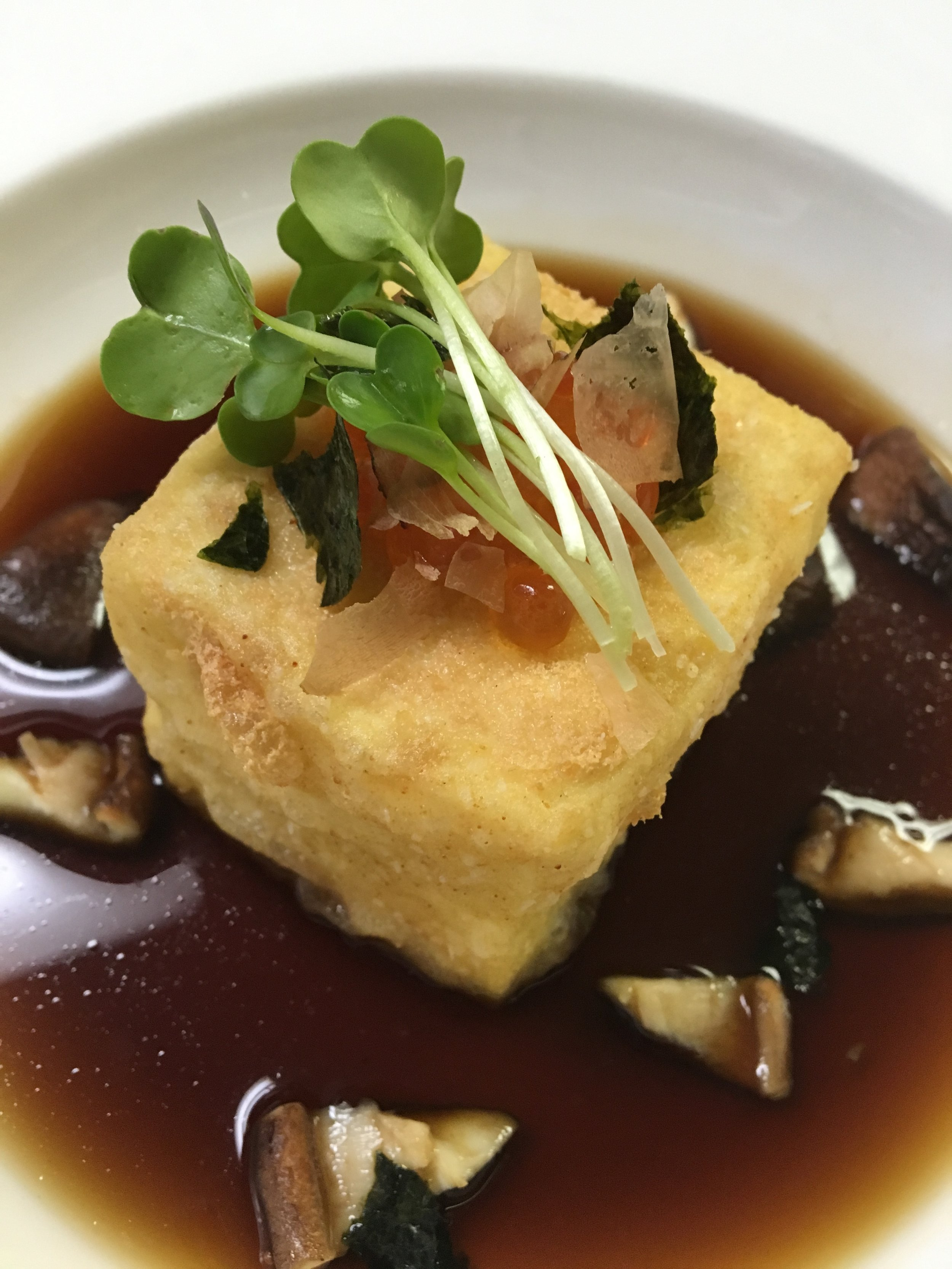 Agedashi dofu, Tentsuyu Sauce, Nameko Mushrooms