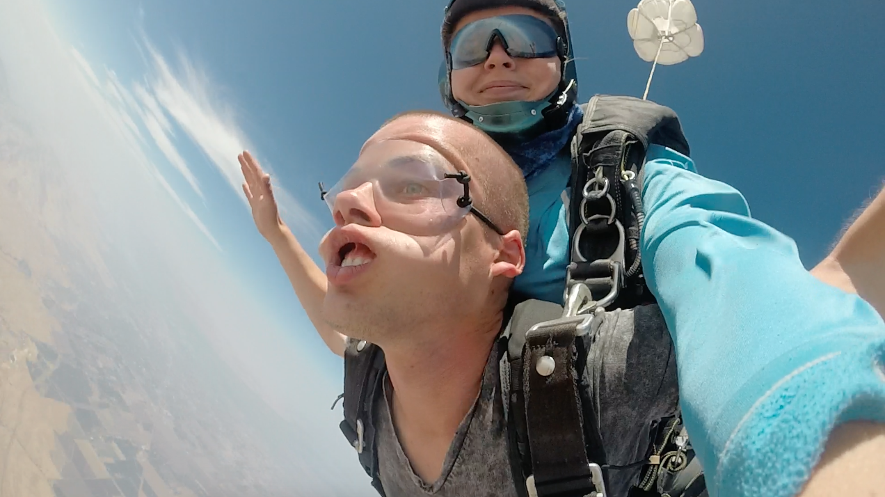 - Our Tandem instructor Mark went skydiving and looks like a chipmunk!