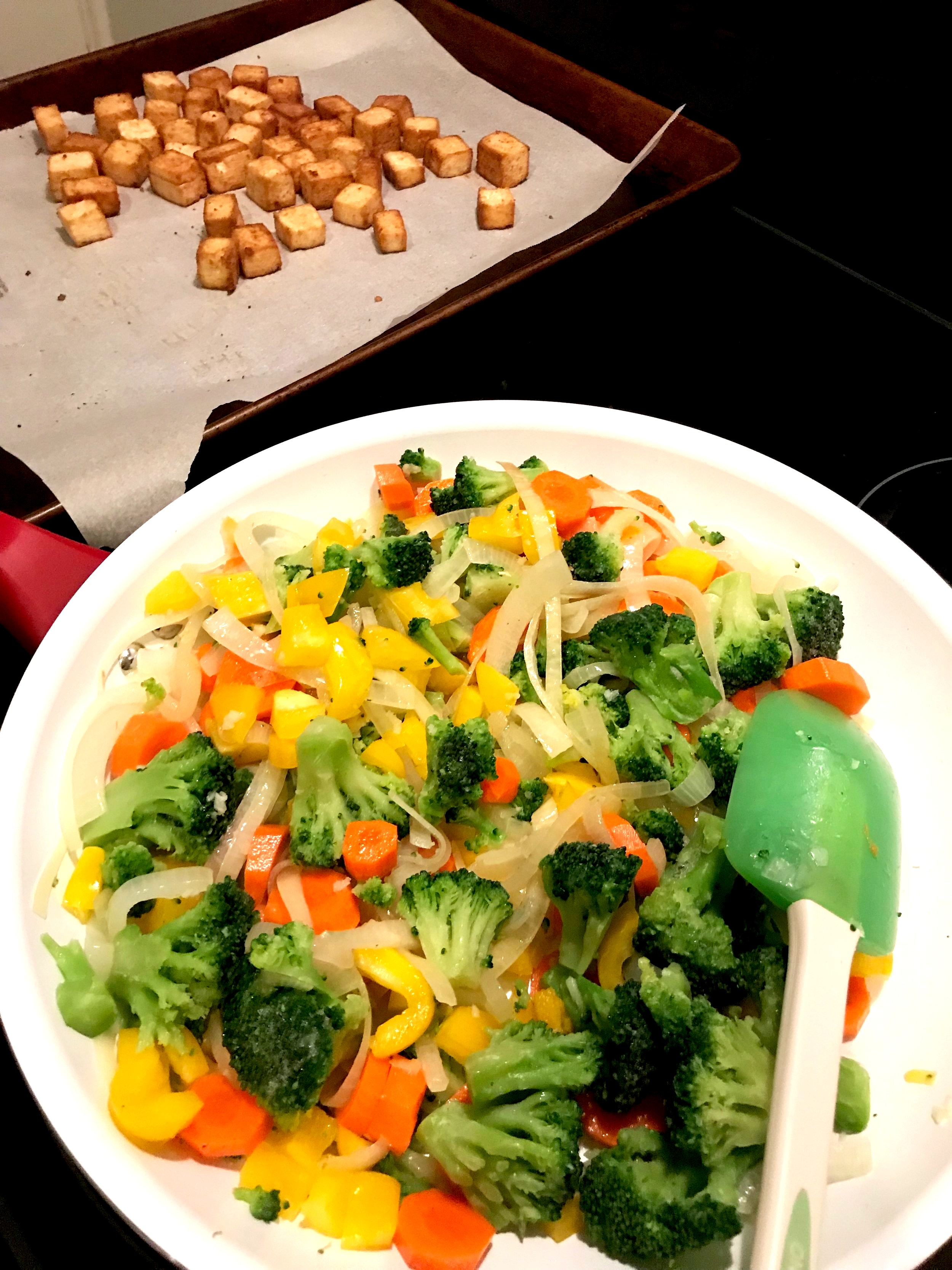 Veggie Stir Fry with Baked Tofu. Just add the rice and Teriyaki sauce and it's a full meal!