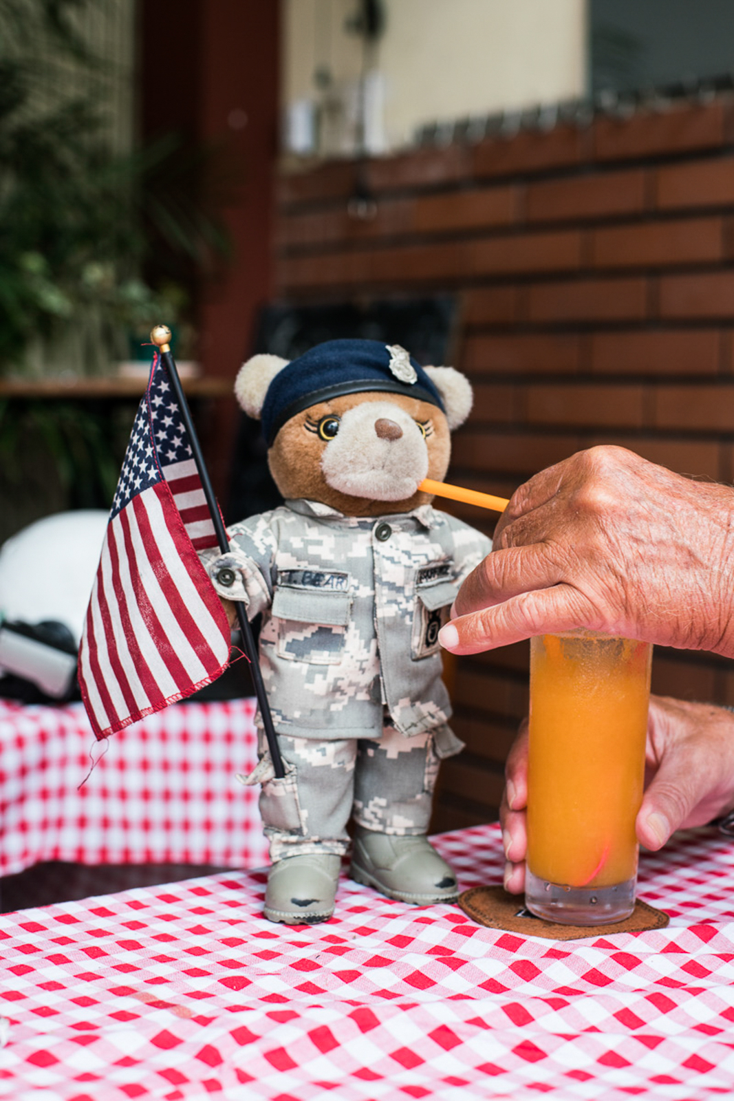 Western food and fast food give Bill a sense of security. Colonel T. Bear not only accompanies him to the restaurant but also on his travels. During their journeys, he is seated in front of the small windshield of his scooter.