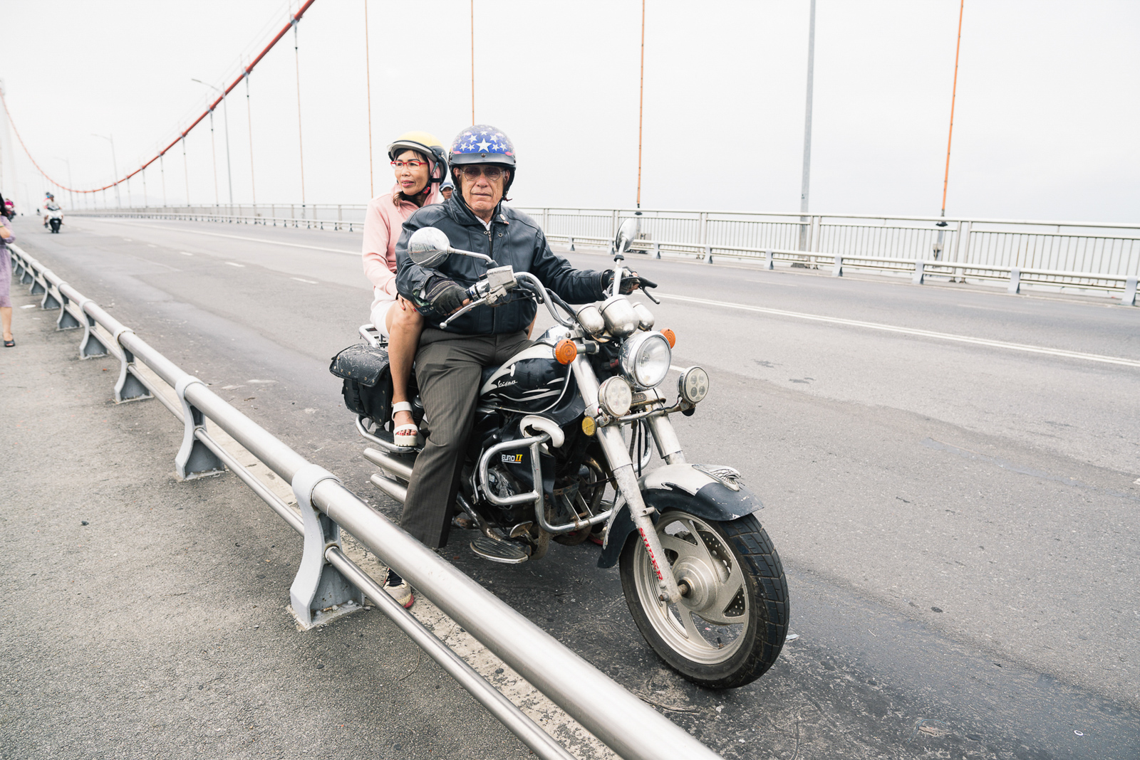 Seven years since, David and Ushi helped organize motorcycle trips through Vietnam on behalf of the organization Veterans for Peace. After each tour, the members donate to war-relief projects of their choice. On the yearly tour, David states he witnessed grown-up anti-war and pro-war people coming together to cry. His own motorbike is a Chinese replica of a Harley Davidson.