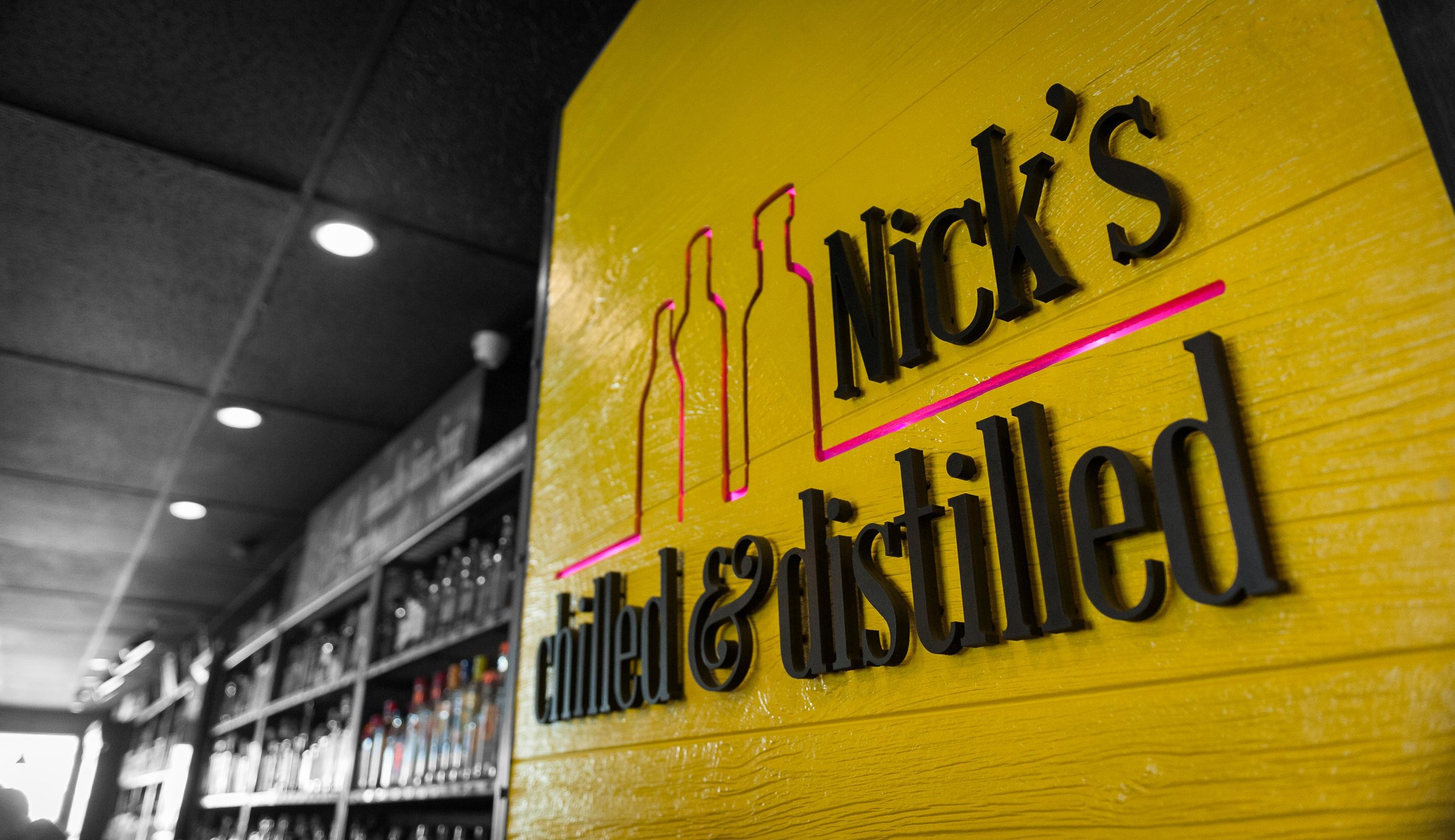Nicks Chilled & Distilled sign