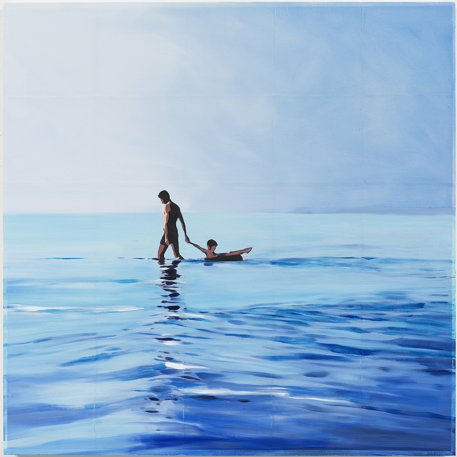 "Isca Greenfield-Sanders ""Father and Son"", mixed media oil on canvas, 35 x 35 inches, courtesy of the artist and Miles McEnery Gallery"
