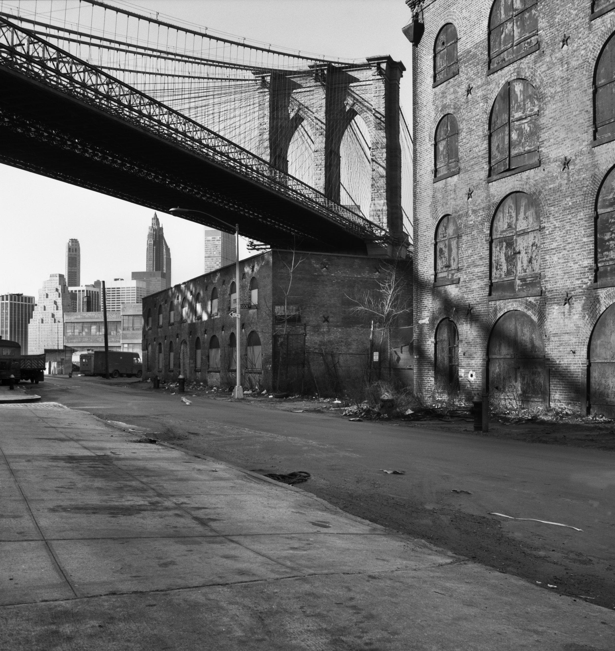 "David Plowden, ""The Brooklyn Bridge from Brooklyn, NY"" (1973), photograph, 12.5 x 11.5 inches"