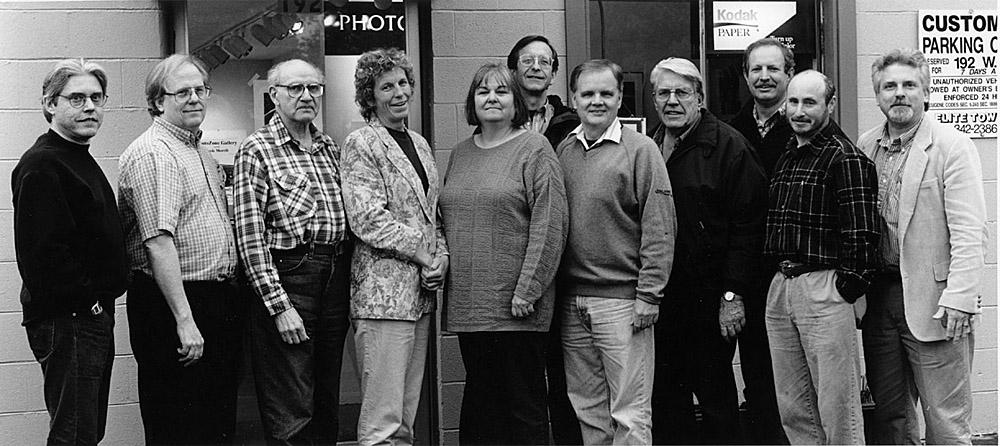 In front of our W.11th Gallery 2000 - 2002  L-R: Justin Williams, Walt O'Brien, Herman Krieger, Susie Morrill, Denise Mattson, John Coggins, Gene Tonry, Chuck Draper, Patrick Plaia, Guy Weese