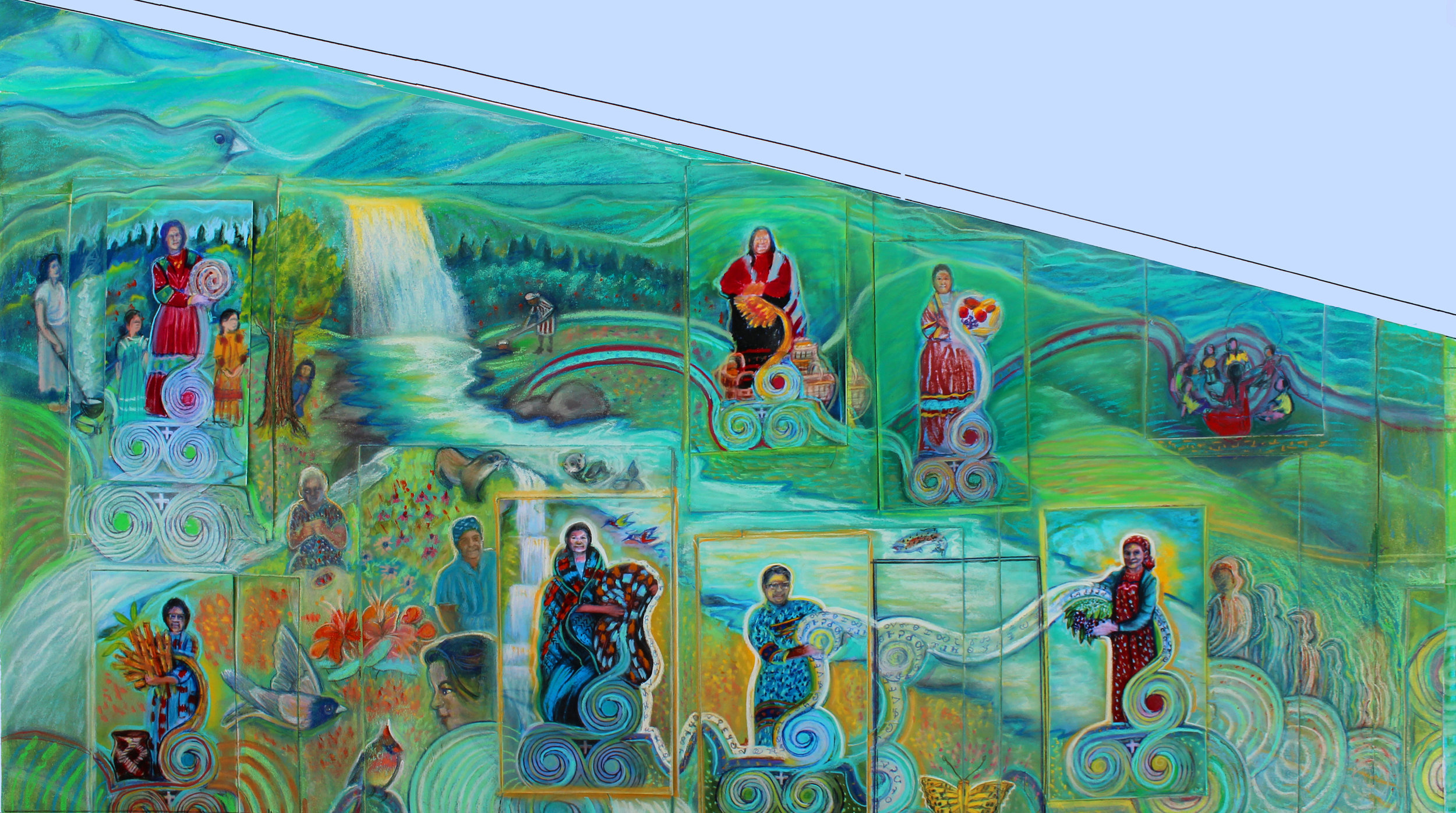 Draft rendering for the Snowbird Cherokee Beloved Women Mural Project. Photo courtesy of Doreyl Ammons Cain