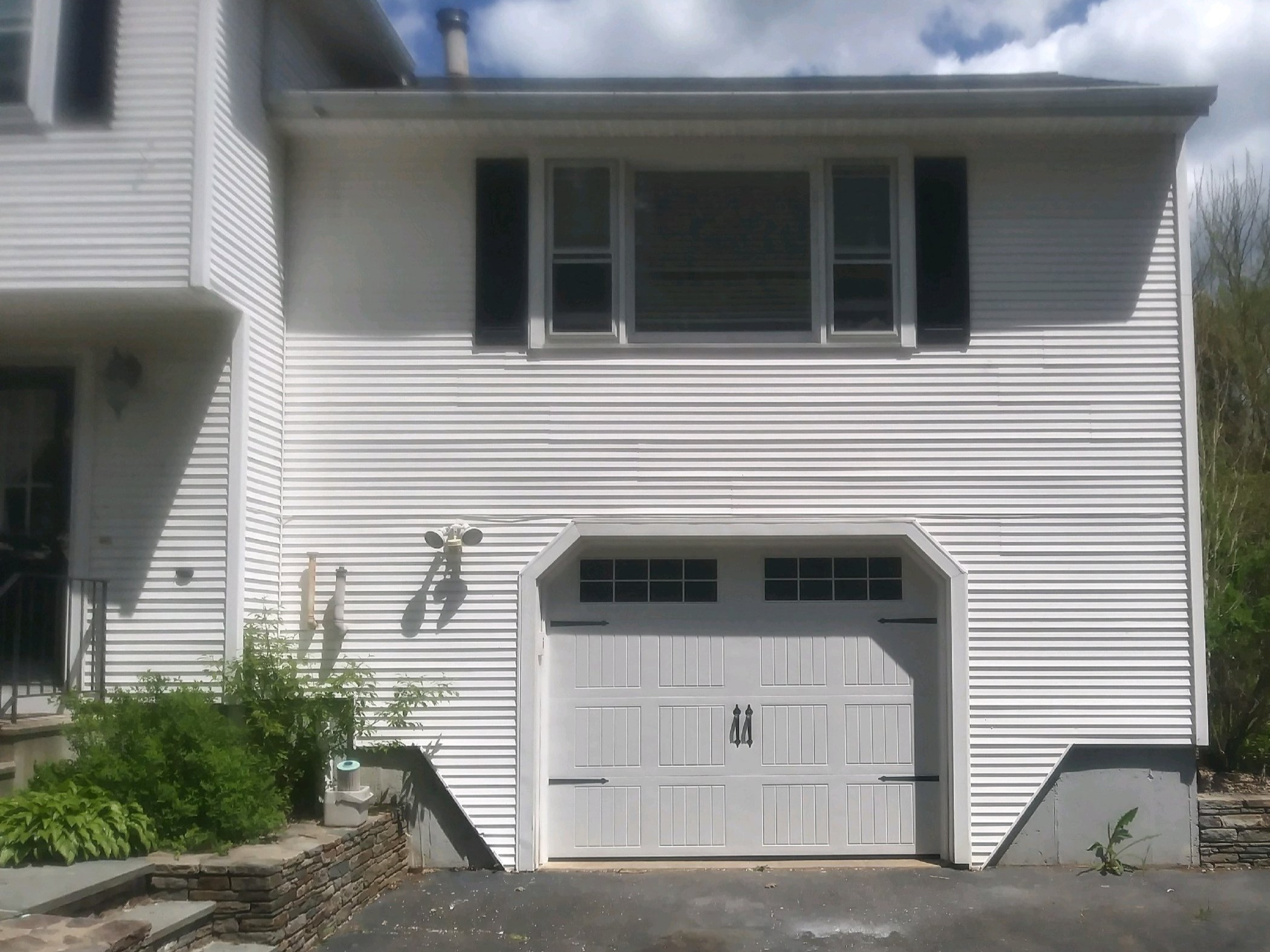 White Carriage House Garage Door with Hardware
