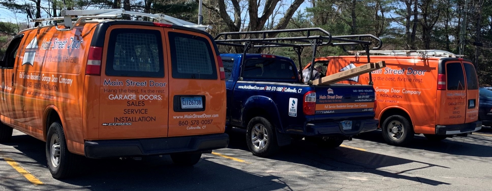 Main Street Door's fleet of service trucks and vans are fully stocked and ready to address any issue your garage doors or operators may have.