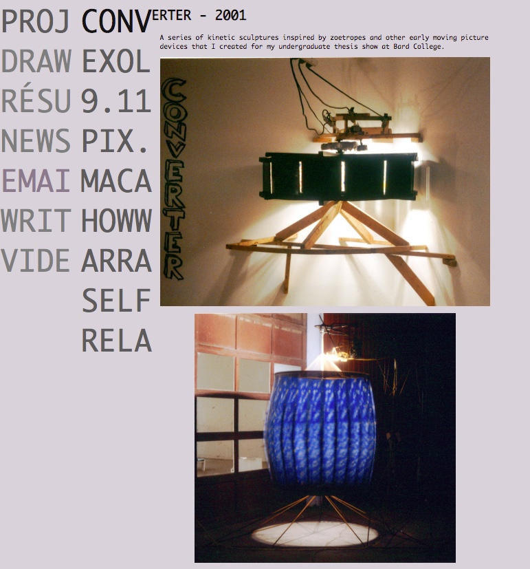 Screen cap of my old site, with images from my senior thesis show at Bard College.
