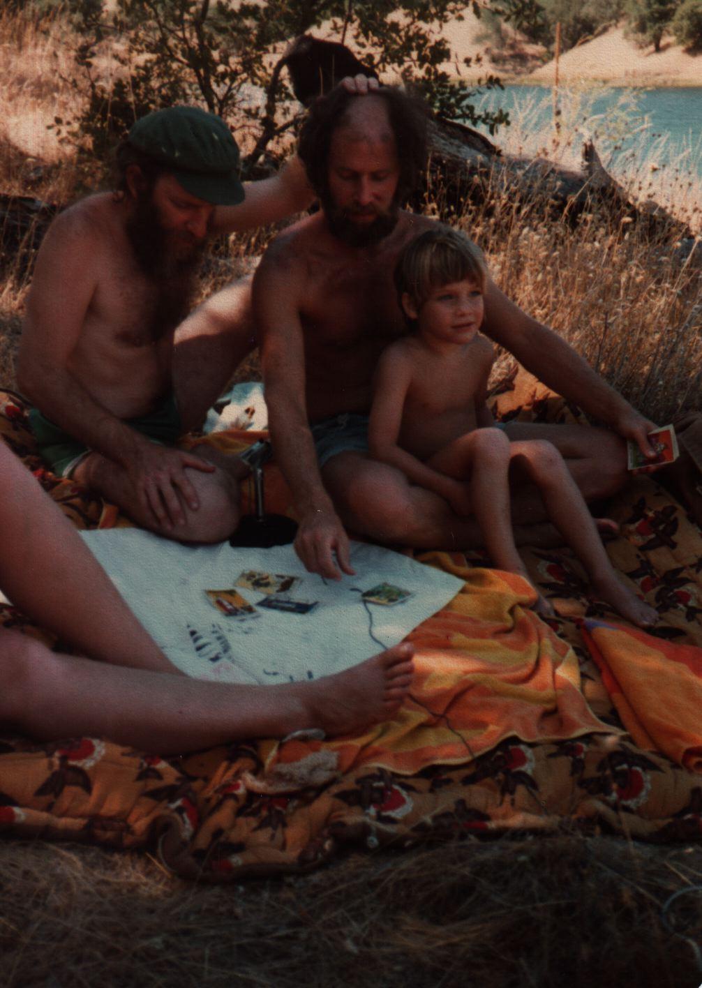 81 Joys  Ezra Berg with Aaron and Jeremiah Greenberg, Tarot cards near the lake copy.jpg