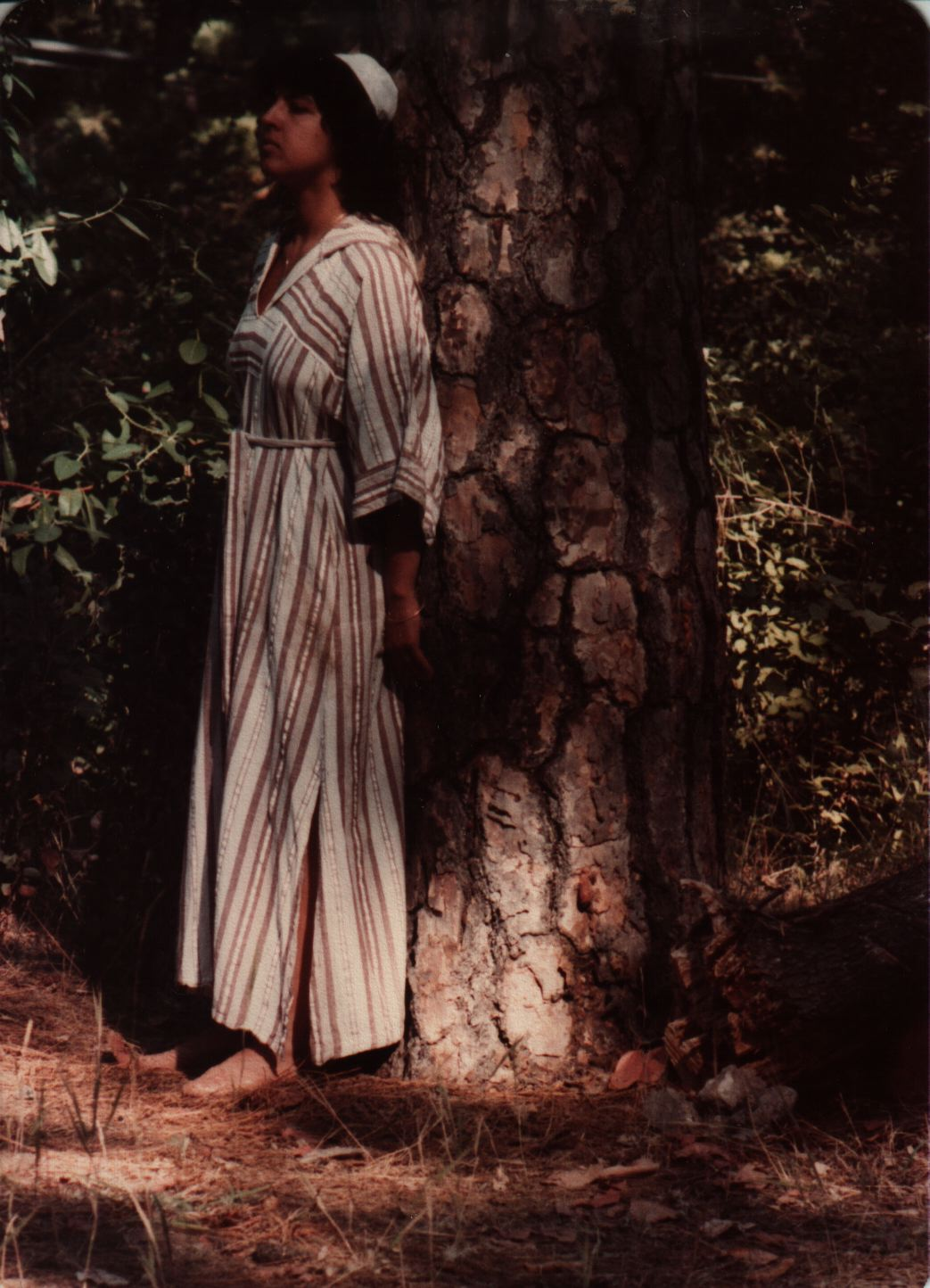84 Joys  Clarissa Shaffer with back to tree (Shabbat morning davvening) copy.jpg