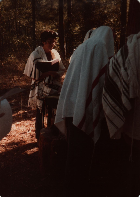 84 Joys  Davvening the silent prayer, most covered in tallitot, Monique Pasternak visible copy.jpg