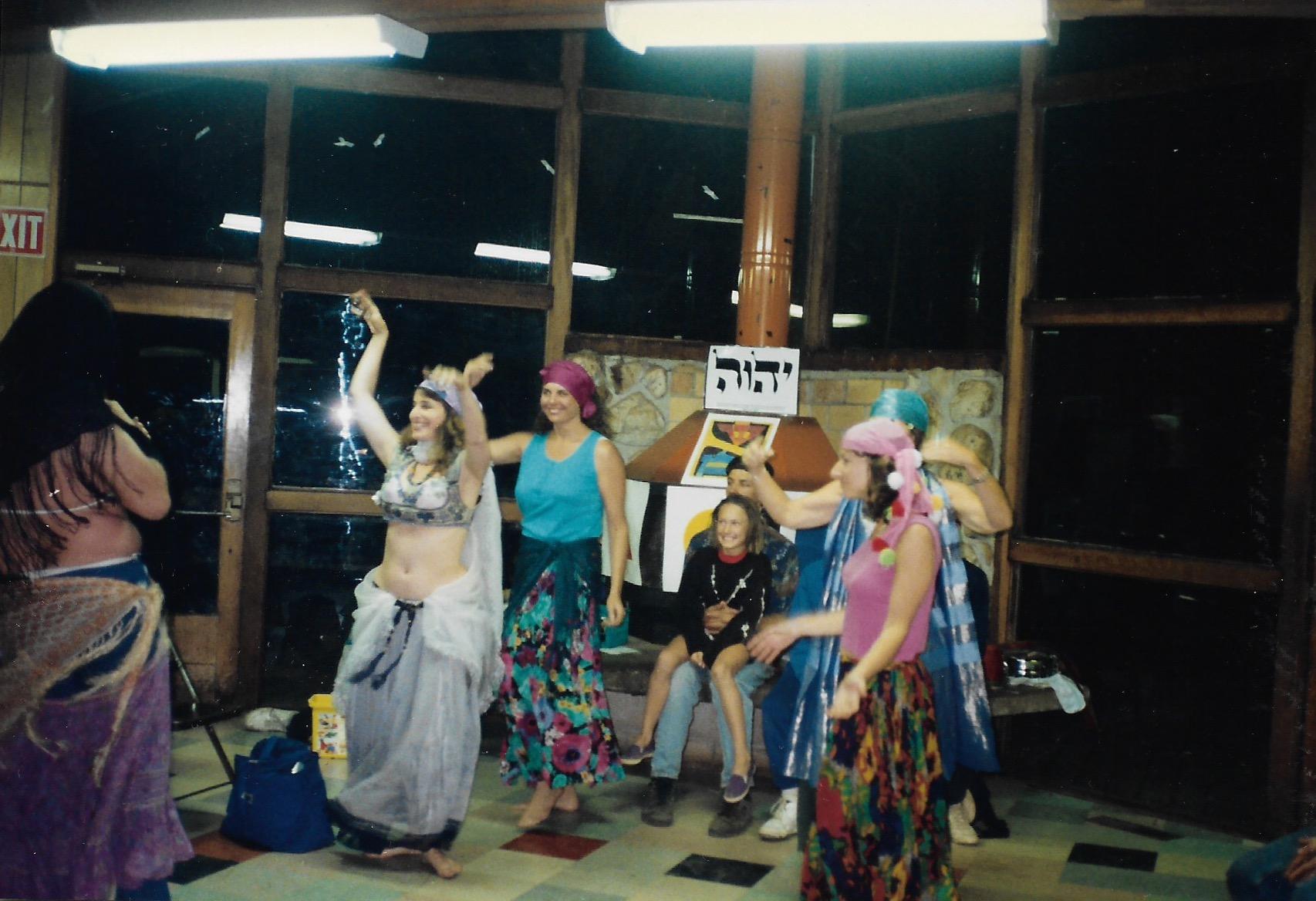 92 Joys  Saturday night belly dancing performance led by Linda Elyad, incl Rhonda Mason, Linda Hylander(?) copy.jpeg