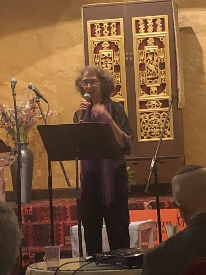 Rabbi Diane Elliot at The Aquarian Minyan's 45th Anniversary Celebration, June 2019, Berkeley, CA