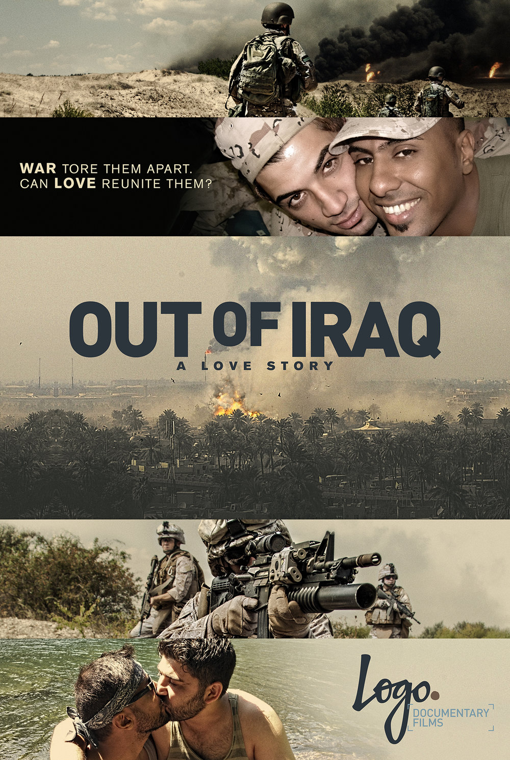OUT OF IRAQ /  Two enlisted men in Iraq, one an Iraqi solider, the other a translator are forced to flee when one is being targeted for homosexuality. Through thousands of miles, they fight to stay connected and to be reunited. Poster Design by The Refinery.