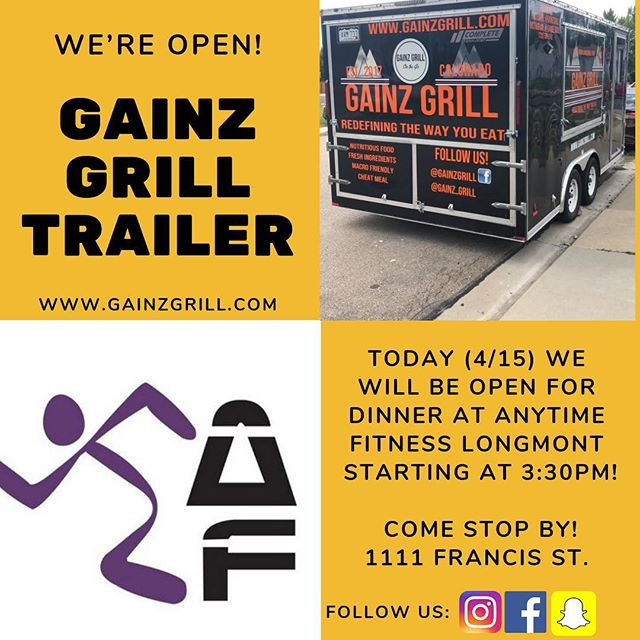 Stop by Anytime Fitness Longmont today to visit our trailer! We will open at 3:30!