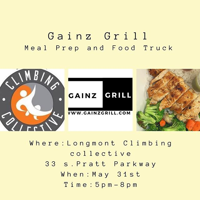Today we will be serving out of our food truck from 5:00 - 8:00pm at @longmontclimbs .  Stop by the LCC Patio and grab a delicious and healthy dinner 😋