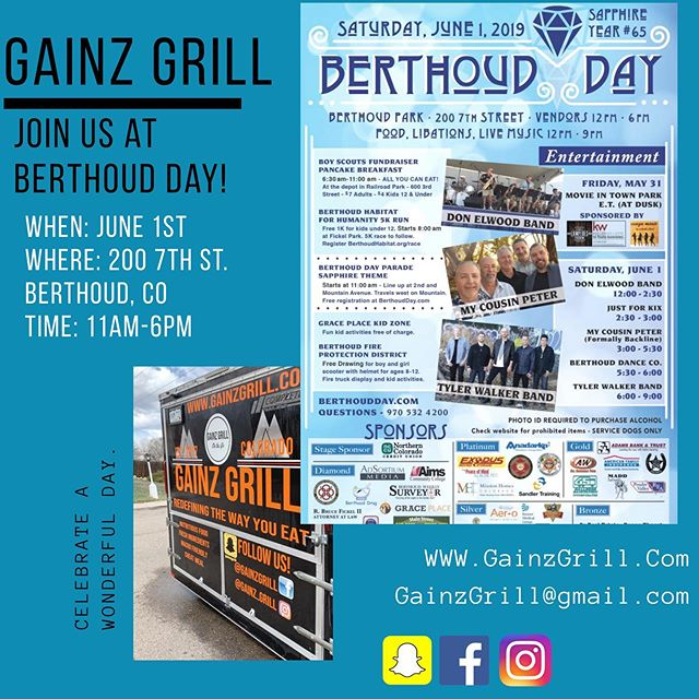 Join us today at Berthoud Day! We'll be open up there until 6pm!  200 7th St. Berthoud, CO