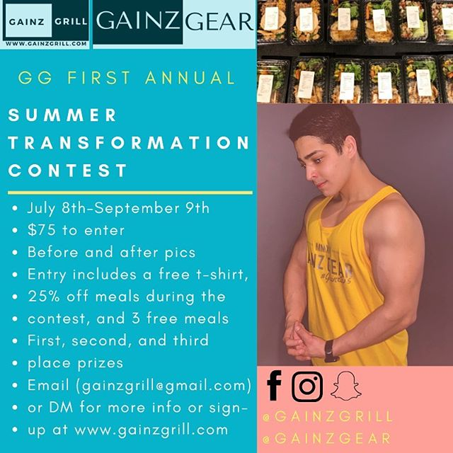 Need a little extra motivation for the gym this summer? We decided to launch an 8 week transformation contest for the summer, prizes and discounts will be offered to the participants! Make your goals happen,  whether your goal is to lose weight, bulk up, or even to tone up your summer bod😎☀️ •July 8th-September 9th •$75 to enter •Before and after pics •Entry includes a free t-shirt, 25% off meals during the contest, and 3 free meals •First,second, and third place prizes •Email (gainzgrill@gmail.com) or DM for more info or sign-up at www.gainzgrill.com