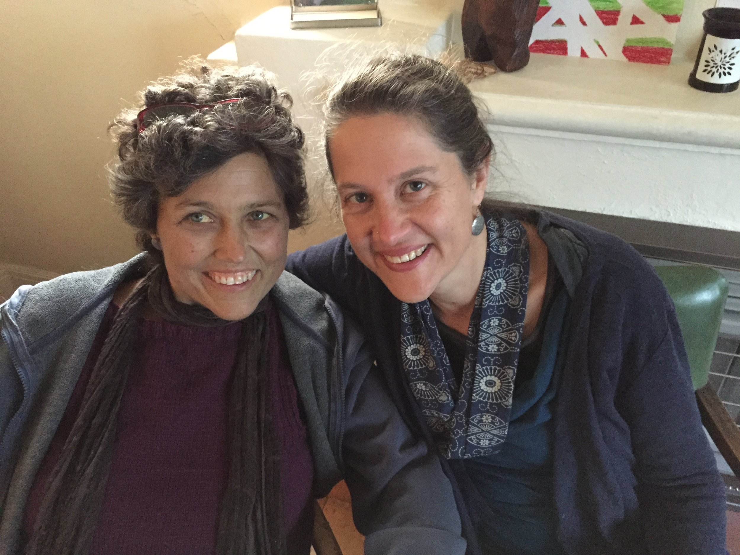Sisters - Corrina Le Cornu with me Anahata Giri, 11 days before Corrina died