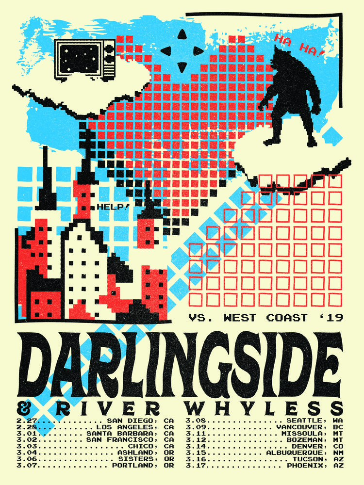 Darlingside - West Coast Tour 2019Inspired by the references to vintage video games in their song Extralife, I set out to create a new pixelated dimension evocative of how 1980s Nintendo makes us feel.